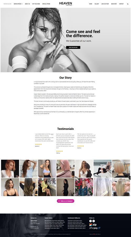 heaven-salons-website-design